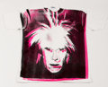 Prints & Multiples, Andy Warhol (1928-1987). Self-Portrait with Fright Wig, circa 1986. Silkscreen on cotton (XXL) T-Shirt. 33-1/2 x 40 inch...