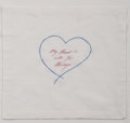 Other:Contemporary, Tracey Emin (b. 1963). My Heart is with You Always, 2015.Embroidered linen handkerchief. 16 x 16 inches (40.6 x 40.6 cm...