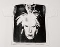 Post-War & Contemporary:Pop, Andy Warhol (1928-1987). Self-Portrait with Fright Wig,circa 1986. Silkscreen print on (XXL) T-Shirt. 33 x 40-1/2 inche...