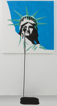 Pure Evil (b. 1968) America's Nightmare, 2017 Spray paint on canvas 29-3/4 x 29-3/4 inches (75.6