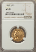 Indian Half Eagles, 1913-S $5 MS61 NGC....