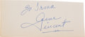 Music Memorabilia:Autographs and Signed Items, Gene Vincent Autographed Cut Page (1960s)....