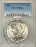 Peace Dollars: , 1928 $1 MS63 PCGS. PCGS Population: (2593/2375). NGC Census:(1633/1103). CDN: $625 Whsle. Bid for problem-free NGC/PCGS MS...