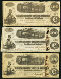 Confederate Notes:1862 Issues, T40 $100 1862 Three Examples.. ... (Total: 3 notes)