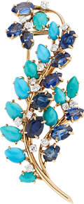 Estate Jewelry:Brooches - Pins, Sapphire, Diamond, Turquoise, Gold Brooch, French. ...