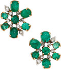 Estate Jewelry:Earrings, Emerald, Diamond, Platinum, Gold Earrings, French. ...