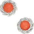 Estate Jewelry:Earrings, Coral, White Gold Earrings. ...