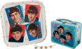 Music Memorabilia:Toys, Beatles Lunchpail, Tray, and Necklace (1964)....