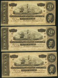 Confederate Notes:1864 Issues, T67 $20 1864 PF-3 Cr. 505 Three Consecutive Examples.. ... (Total: 3 notes)