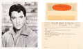 Music Memorabilia:Autographs and Signed Items, Elvis Presley - A Signed Black and White Photograph and a RelatedTelegram, Circa 1965....