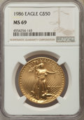 Modern Bullion Coins, 1986 $50 One-Ounce Gold Eagle MS69 NGC. NGC Census: (8717/466). PCGS Population: (3946/53). CDN: $1,148 Whsle. Bid for prob...