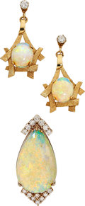 Estate Jewelry:Suites, Opal, Diamond, Gold Jewelry . ... (Total: 2 Items)