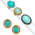 Estate Jewelry:Lots, Turquoise, Sapphire, Gold Jewelry . ... (Total: 4 Items)