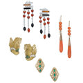 Estate Jewelry:Earrings, Diamond, Coral, Multi-Stone, Glass, Gold Jewelry . ... (Total: 4 Items)