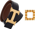 Luxury Accessories:Accessories, Hermes 80cm Black Calf Box & Gold Clemence Leather Reversible HBelt with Gold Hardware. X Circle, 1994. Very Good Conditi...(Total: 2 Items)