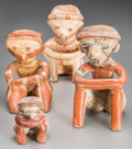 Ceramics & Porcelain:Pre-Columbian, Four Nayarit Chinesco Figures. c. 200 BC - 200 AD... (Total: 4 Items)