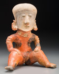 Ceramics & Porcelain:Pre-Columbian, A Nayarit Chinesco Seated Female. c. 200 BC - 200 AD...