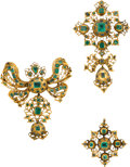Estate Jewelry:Suites, Emerald, Gold Jewelry, Spanish, 18th Century . ... (Total: 3 Items)