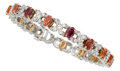 Estate Jewelry:Bracelets, Multi-Color Sapphire, Diamond, Platinum, Gold Bracelet. ...