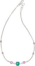 Estate Jewelry:Necklaces, Emerald, Pink Sapphire, Diamond, White Gold Necklace. ...