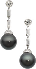 Estate Jewelry:Earrings, South Sea Cultured Pearl, Diamond, White Gold Earrings, Assil. ...