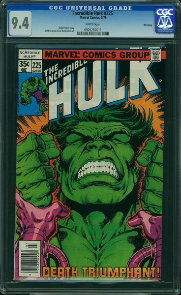 The Incredible Hulk #225 - Winnipeg (Marvel, 1978) CGC NM 9 4 WHITE pages