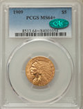 Indian Half Eagles, 1909 $5 MS64+ PCGS. CAC....