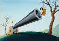 Animation Art:Painted cel background, Love's Labor Won Mighty Mouse Painted Background(Terrytoons, 1948)....