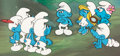 Animation Art:Production Cel, The Smurfs Smurfette and Others Production Cel and Master Production Background Setup (Hanna-Barbera, 1983)....