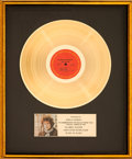 Music Memorabilia:Awards, Bob Dylan Blonde on Blonde RIAA Gold Record Sales Award (Columbia C2S 841 CS 9316, 1966)....