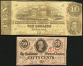 Confederate Notes:Group Lots, T59 $10 1863 PF-19 Cr. 442;. T63 50¢ 1863 PF-UNL.. ... (Total: 2notes)