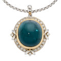 Estate Jewelry:Pendants and Lockets, Tourmaline, Diamond, Platinum, Gold Pendant-Necklace. ...
