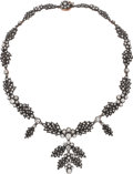 Estate Jewelry:Necklaces, Diamond, Silver-Topped Gold Necklace. ...