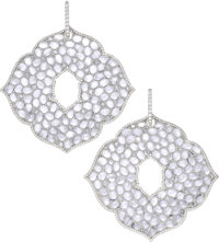 Moonstone, Diamond, White Gold Earrings, Piranesi