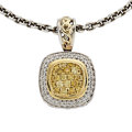 Estate Jewelry:Pendants and Lockets, Colored Diamond, Diamond, Gold, Sterling Silver Pendant-Necklace,Charles Krypell. ...