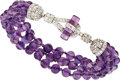 Estate Jewelry:Bracelets, Amethyst, Diamond, Platinum Bracelet. ...