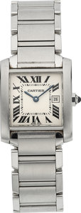 Estate Jewelry:Watches, Cartier Unisex Tank Francaise Stainless Steel Watch. ...