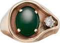 Estate Jewelry:Rings, Gentleman's Jadeite Jade, Diamond, Gold Ring. ...