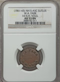 Civil War Tokens, Civil War Sutler, W.A. Farr, 14th New Hampshire Volunteers, 5Cents, AU53 NGC. S&I-NH-14-5C, R.9....