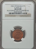 Civil War Merchants, 1863 Allegheny Valley Railroad, Pittsburgh, PA, MS64 Red and BrownNGC. Fuld-PA765A-2a....