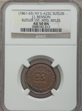 Civil War Tokens, Civil War Sutler, J.J. Benson, 1st Mounted Rifles, 25 Cents, AU50NGC. S&I-NY-1-25C, R.6. Copper....