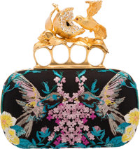Alexander McQueen Black Embroidered Mesh Hummingbird Knuckle Duster Clutch Bag Excellent Condition <