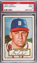 Baseball Cards:Singles (1950-1959), 1952 Topps Max Surkont #302 PSA Mint 9 - Pop Five, None Higher....