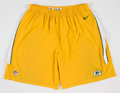 Football Collectibles:Uniforms, Corey Linsley Green Bay Packers Practice Worn Shorts....