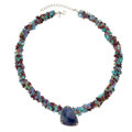 Estate Jewelry:Necklaces, Diamond, Sapphire, Multi-Stone, Sterling Silver Pendant-Necklace . ... (Total: 2 Items)