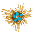 Estate Jewelry:Brooches - Pins, Turquoise, Diamond, Emerald, Gold Brooch. ...