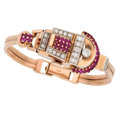 Estate Jewelry:Watches, Retro Diamond, Ruby, Platinum-Topped Rose Gold Covered Dial Watch. ...