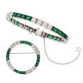 Estate Jewelry:Suites, Diamond, Synthetic Emerald, White Gold Jewelry Suite . ... (Total:2 Items)