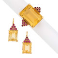 Estate Jewelry:Suites, Citrine, Synthetic Ruby, Gold Suite. ... (Total: 2 Items)
