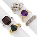 Estate Jewelry:Rings, Colored Diamond, Diamond, Multi-Stone, Platinum, Gold Rings . ... (Total: 5 Items)